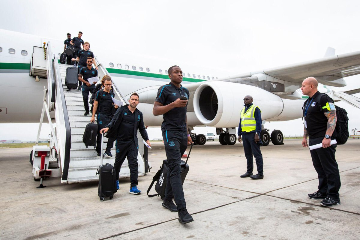 Walcott Leads a Star-Studded Everton Side as They Land in Nairobi For Sharks Tie